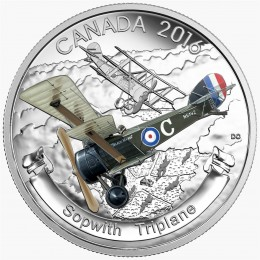 2016 Canadian $20 Aircraft of the First World War Series: The Sopwith Triplane - 1 oz Fine Silver Coin