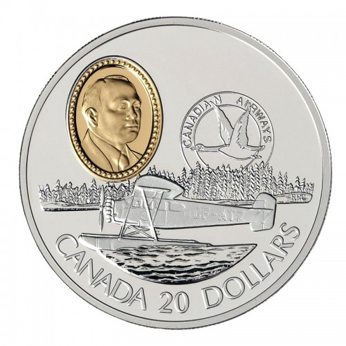 1993 Canadian $20 Aviation Series I: Fairchild 71c Sterling Silver Coin (Coin 7 of 10)