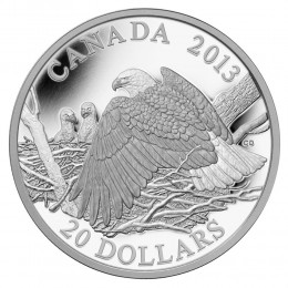 2013 Canada Fine Silver $20 Coin - The Bald Eagle: Mother Protecting Her Eaglets