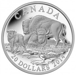 2014 Canada Fine Silver $20 Coin - The Bison: A Family at Rest