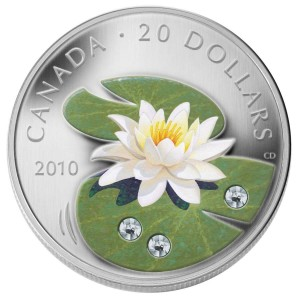 2010 Canada Fine Silver $20 Coin - Crystal Series: Water Lily