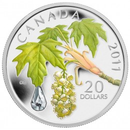 2011 Canada Fine Silver $20 Coin - Crystal Series: Maple Leaf Crystal Raindrop