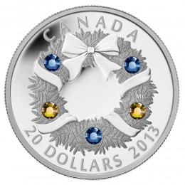 2013 Canadian $20 Holiday Wreath Swarovski® Crystal & Fine Silver Coin