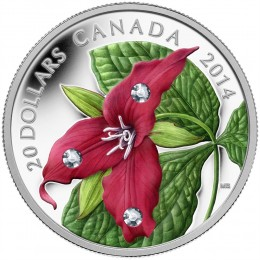 2014 Canadian $20 Red Trillium with Swarovski® Crystal Dew Drops 1 oz Fine Silver Coloured Coin