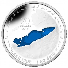 2014 Canadian $20 The Great Lakes: Lake Erie - 1 oz Fine Silver Coloured Coin