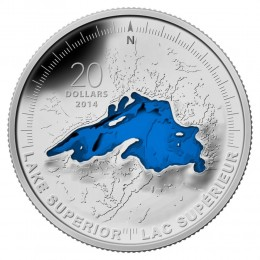 2014 Canadian $20 The Great Lakes: Lake Superior - 1 oz Fine Silver Coloured Coin