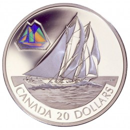 2000 Canadian $20 Transportation: The Bluenose Schooner Sterling Silver Hologram Coin
