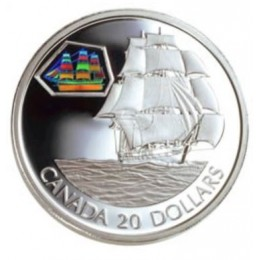 2001 Canadian $20 Transportation: The Marco Polo Sterling Silver Hologram Coin