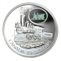 2001 Canadian $20 Transportation: The Scotia Locomotive Sterling Silver Hologram Coin
