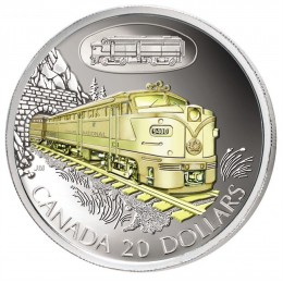 2003 Canadian $20 Transportation: CN FA-1 Diesel-Electric Locomotive 9400 Sterling Silver Gold-plated Coin
