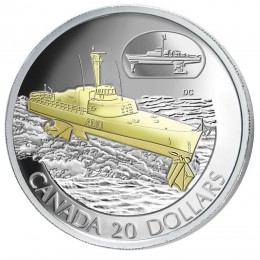 2003 Canadian $20 Transportation: The HMCS Bras d'or FHE-400 Sterling Silver Gold-plated Coin