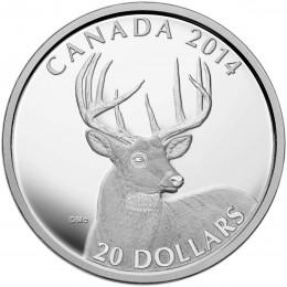 2014 Canadian $20 The White-tailed Deer: A Portrait - 1 oz Fine Silver Coin