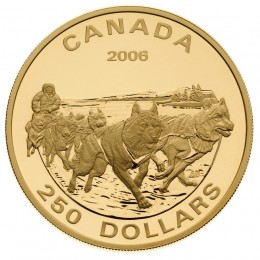 2006 Canada 14-karat Gold $250 Coin - Dog Sled Team