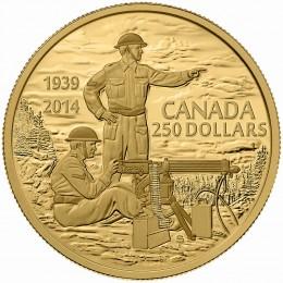 2014 Canadian $250 Canadian Machine Gunner in Training: 75th Anniversary of the Declaration of the Second World War - 2 oz Pure Gold Coin