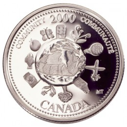 2000 Sterling Silver 25 Cent Coin - Millennium Series: December, Community