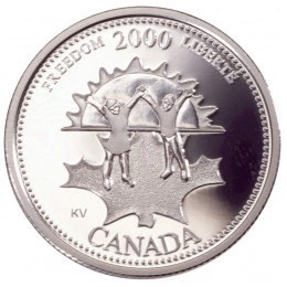 2000 Sterling Silver 25 Cent Coin - Millennium Series: November, Freedom