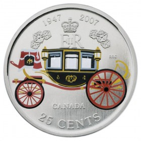 2007 Canada 25 Cent Coin - Elizabeth II and Prince Philip, 60th Wedding Anniversary