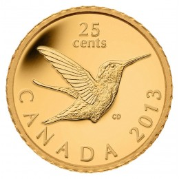 2013 Canada Pure Gold 25 Cent Coin - Hummingbird