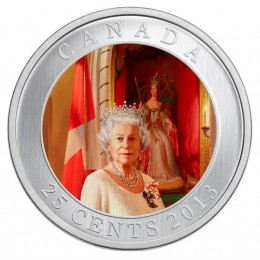 2013 Canadian 25-Cent Her Majesty Queen Elizabeth II Coronation - Coloured Coin