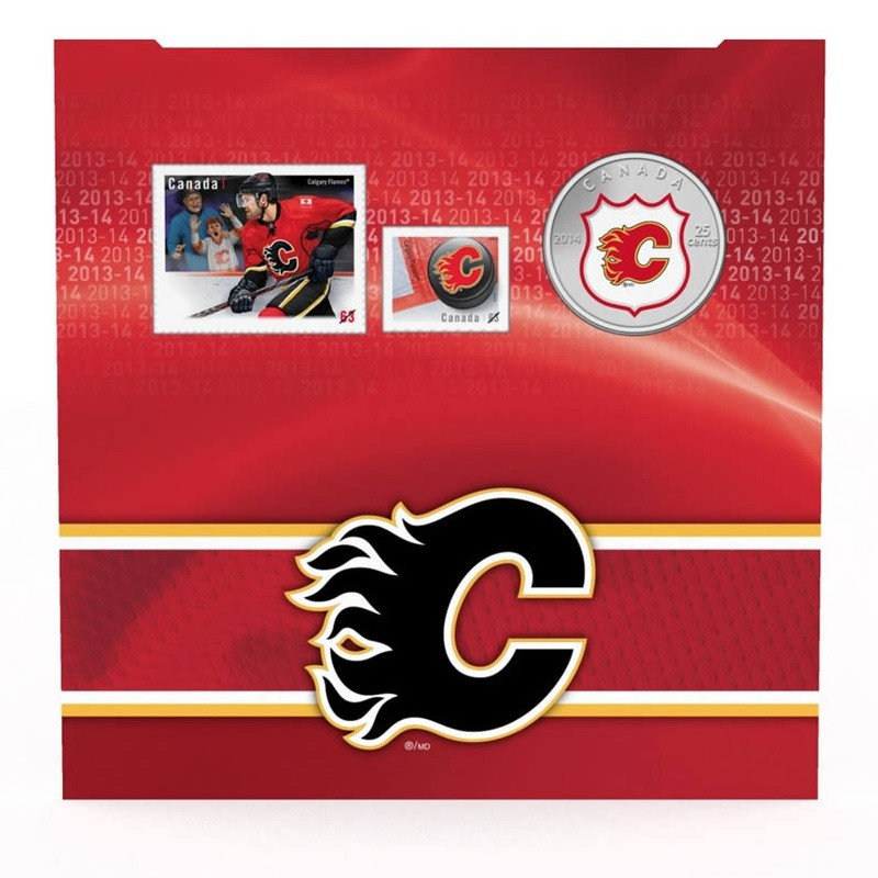 2014 Canada Nhl 174 25 Cent Coin Amp Stamp Gift Set Calgary Flames
