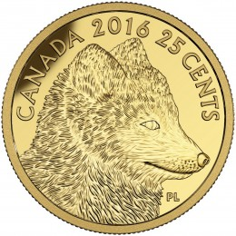 2016 Canadian 25-Cent Predator vs Prey: Traditional Arctic Fox - 0.5g Pure Gold Coin
