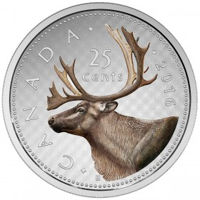 2016 Canadian 25-Cent Big Coin Series: Caribou - 5 oz Fine Silver Coloured Coin