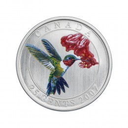 2007 Canadian 25-Cent Birds of Canada #2: Ruby-Throated Hummingbird Coloured Coin