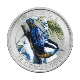 2007 Canadian 25-Cent Birds of Canada #1: Red-Breasted Nuthatch Coloured Coin