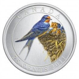 2011 Canadian 25-Cent Birds of Canada: Barn Swallow Coloured Coin