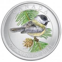 2011 Canadian 25-Cent Birds of Canada: Black-Capped Chickadee Coloured Coin