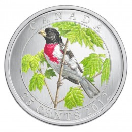 2012 Canadian 25-Cent Birds of Canada #9: Rose-Breasted Grosbeak Coloured Coin