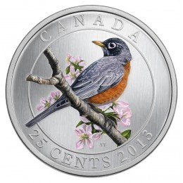 2013 Canadian 25-Cent Birds of Canada #11: American Robin Coloured Coin