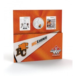 2012 Canada CFL® 25 Cent Coloured Coin & Stamp Set - BC Lions