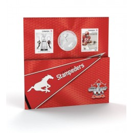 2012 Canada CFL® 25 Cent Coloured Coin & Stamp Set - Calgary Stampeders