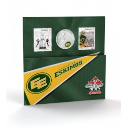 2012 Canada CFL® 25 Cent Coloured Coin & Stamp Set - Edmonton Eskimos