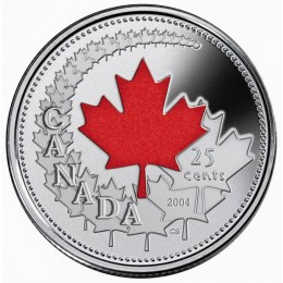 2004 Canad Day 25 Cent Coin Gift Card (Coloured)