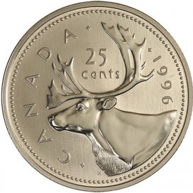 1996 Canadian 25-Cent Caribou (Brilliant Uncirculated)