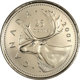 2001P Canadian 25-Cent Caribou (Brilliant Uncirculated)