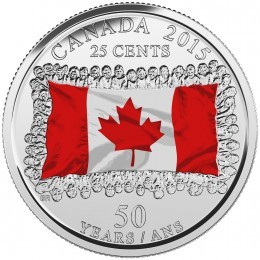 2015 Canadian 25-Cent 50th Anniversary of the Canadian Flag, Coloured (Brilliant Uncirculated)