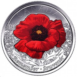 2015 Canadian 25-Cent Remembrance Poppy, Coloured (Brilliant Uncirculated)