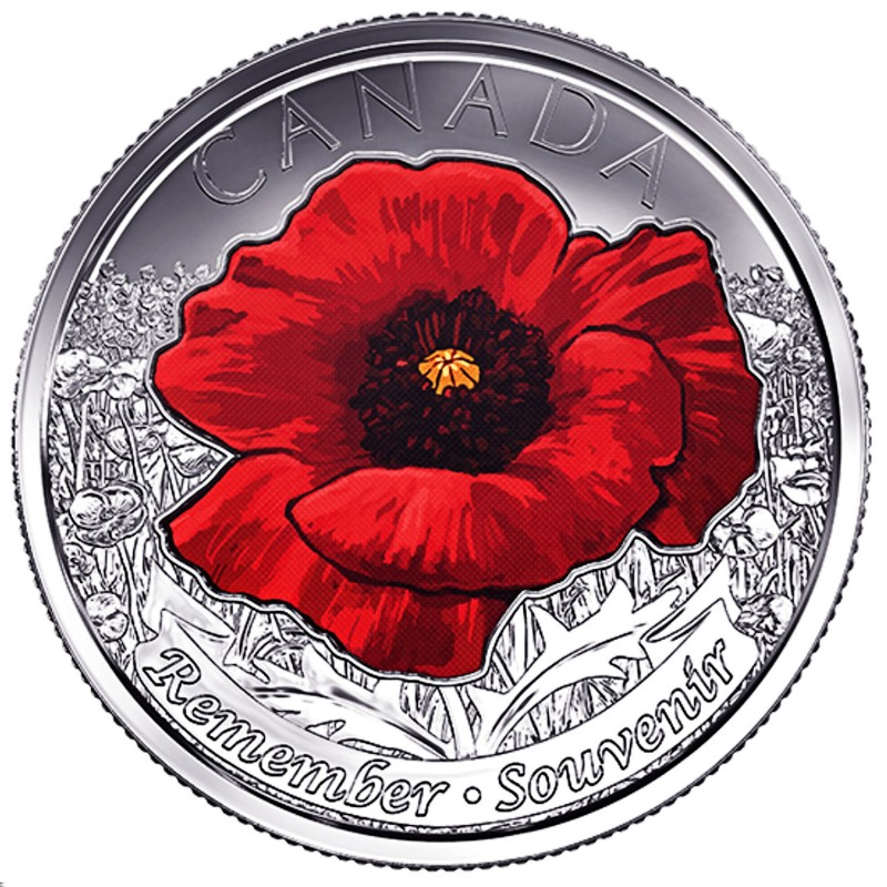 2015 Canadian 25 Cent Remembrance Poppy Coloured Quarter Coin