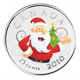 2010 Canadian 25-Cent Santa Claus Coloured Quarter Coin (Brilliant Uncirculated)