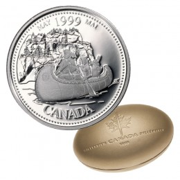 1999 Canadian 25-Cent May: The Voyageurs Millennium Quarter Proof Silver Coin