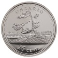 1992 (1867-) Canadian 25-Cent Ontario Confederation 125th Anniv/Provincial Quarter Proof Sterling Silver Coin
