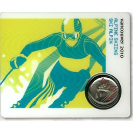 2008 Canada 25 Cent Vancouver 2010 Olympic Sports Card - Alpine Skiing