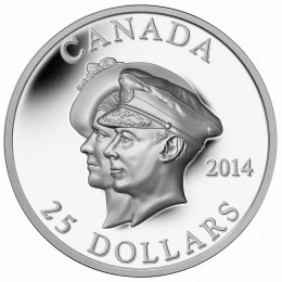 2014 Canada Fine Silver $25 Coin - 75th Anniversary of the First Royal Visit