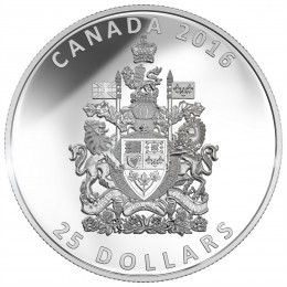 2016 Canada Fine Silver $25 Coin - Piedfort Coat of Arms of Canada