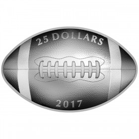 2017 Canadian $25 Football-shaped Curved 1 oz Fine Silver Coin