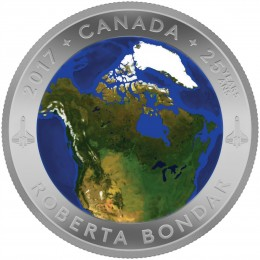 2017 Canada Fine Silver $25 Coin - A View of Canada From Space