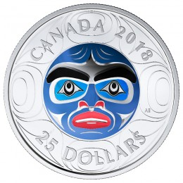 2018 Canadian $25 Ancestor Moon Mask Ultra-High Relief Coloured Fine Silver Coin *Masters Club Exclusive*